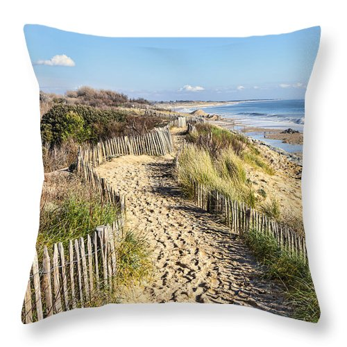 Beach Throw Pillow featuring the photograph Footpath On The Atlantic Dune In Brittany by Radu Razvan