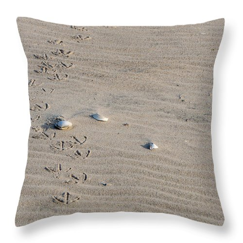 Sand Throw Pillow featuring the photograph Footprints by Cathy Kovarik