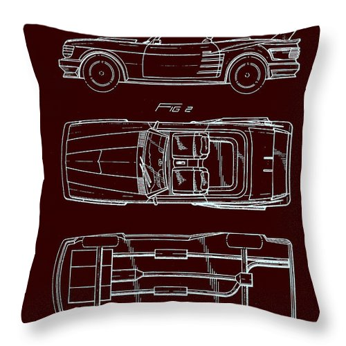 Patent Throw Pillow featuring the drawing Ford Mustang Automobile Body Patent 1986 by Mountain Dreams
