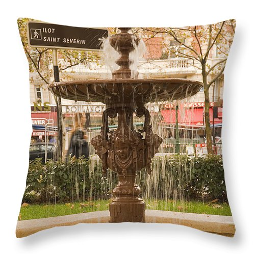 Paris Throw Pillow featuring the photograph Fountain by Mick Burkey