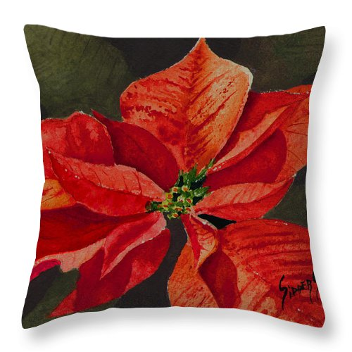 Flower Throw Pillow featuring the painting Franci's Poinsettia by Sam Sidders