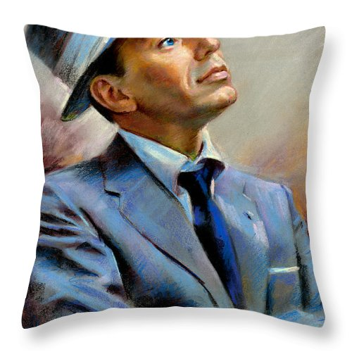 Francis frank Sinatra Throw Pillow featuring the pastel Frank Sinatra by Ylli Haruni