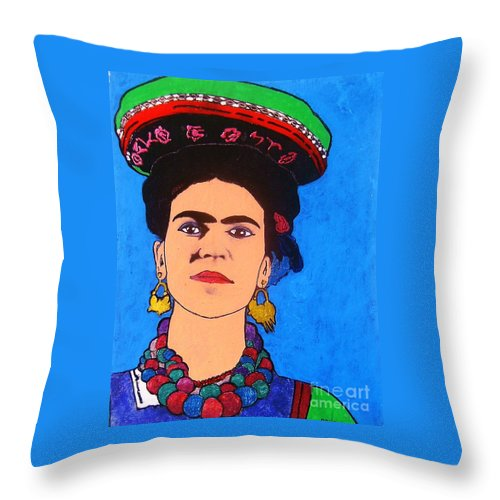 Portrait Throw Pillow featuring the painting Frida by Roberto Prusso