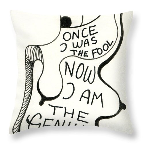 Genio Throw Pillow featuring the drawing From Fool To Genius by Genio GgXpress
