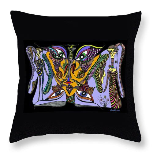 Genia Throw Pillow featuring the mixed media From Insanity To Wisdom by Genia GgXpress