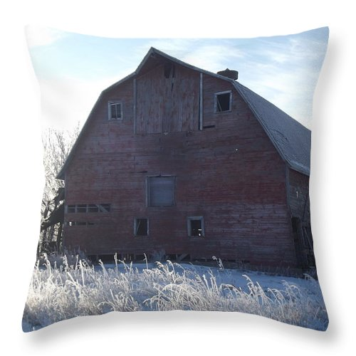 Frost Throw Pillow featuring the photograph Frosty Barn by Bonfire Photography