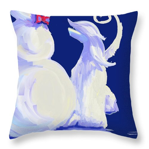 Ipad Finger Paintings Throw Pillow featuring the painting Frosty Blue by Terry Chacon