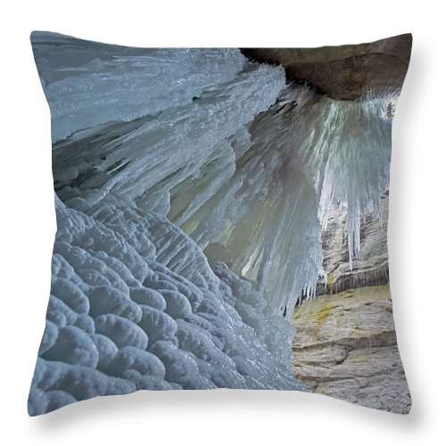 Unesco Throw Pillow featuring the photograph Frozen Waterfall At Maligne Canyon by Jim Julien / Design Pics
