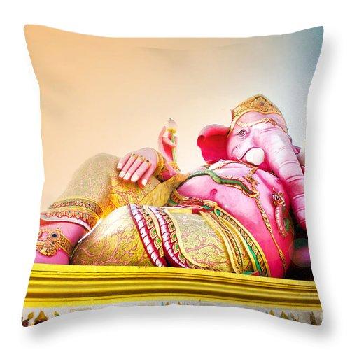 Indian Throw Pillow featuring the photograph Ganesh by Suriya Chuesuwan