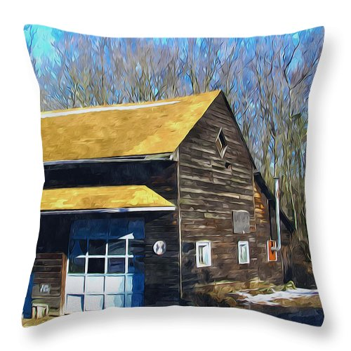 Antique Throw Pillow featuring the painting Garage 1 by Jeelan Clark