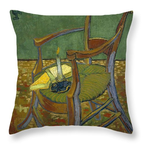 1888 Throw Pillow featuring the painting Gauguin's Chair by Vincent van Gogh