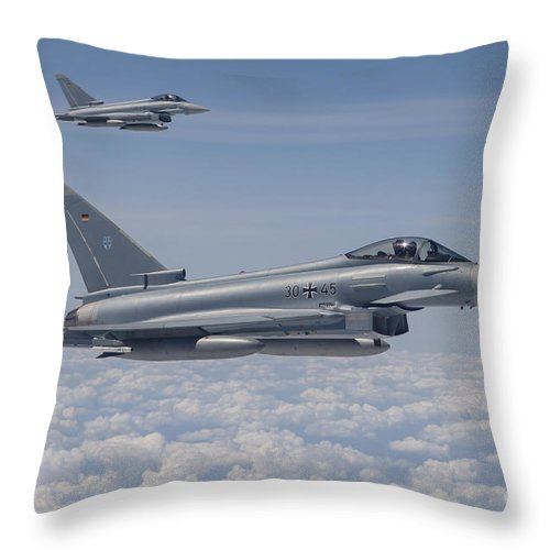 No People Throw Pillow featuring the photograph German Eurofighter Typhoon Jets by Timm Ziegenthaler