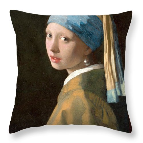 Girl With A Pearl Earring Throw Pillow featuring the painting Girl With A Pearl Earring by Johannes Vermeer