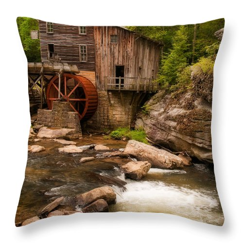 Babcock Throw Pillow featuring the photograph Glade Creek Grist Mill by Michael Blanchette