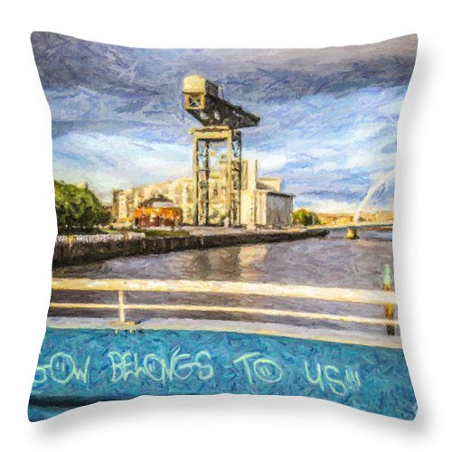 Glasgow Belongs To Us Throw Pillow featuring the digital art Glasgow Belongs To Us by Liz Leyden