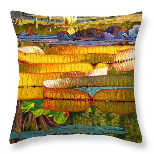 Water Lilies Throw Pillow featuring the painting Glorious Morning Lilies by John Lautermilch