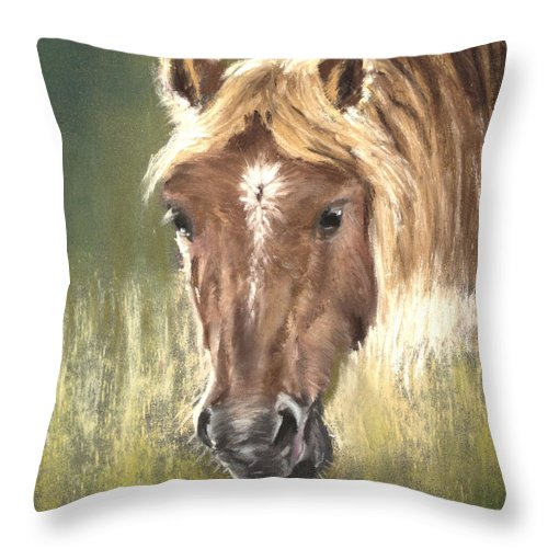 Horse Throw Pillow featuring the painting Golden Locks by Sandy Brooks