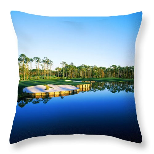 Photography Throw Pillow featuring the photograph Golf Course At The Lakeside, Regatta by Panoramic Images
