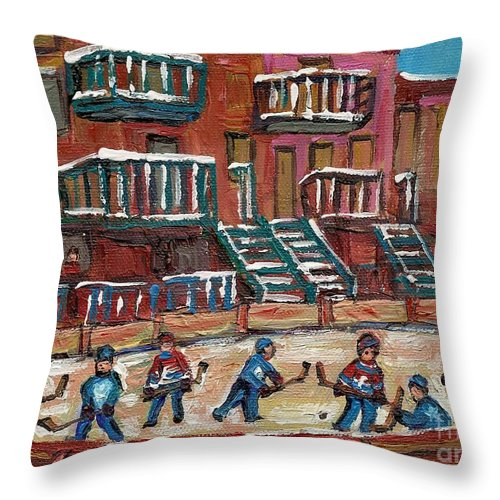 Hockey Throw Pillow featuring the painting Gorgeous Day For A Game by Carole Spandau