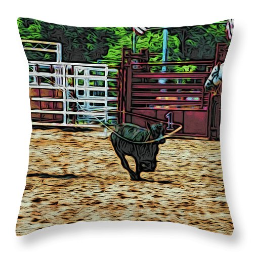 Calf Roping Throw Pillow featuring the photograph Gotcha by Alice Gipson