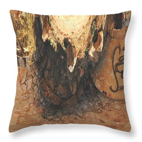 Macro Throw Pillow featuring the photograph Abstract Gaffiti Design by Dave Byrne