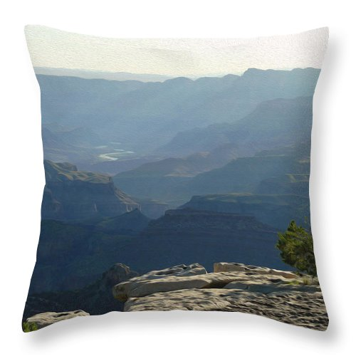 Grand Canyon South Rim Throw Pillow featuring the photograph Grand Canyon South by Tracy Winter