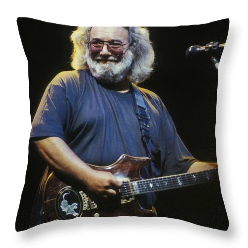 Singer Throw Pillow featuring the photograph Grateful Dead - Uncle Jerry by Concert Photos