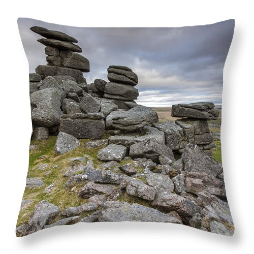 Whitchurch Throw Pillow featuring the photograph Great Staple Tor by Sebastian Wasek