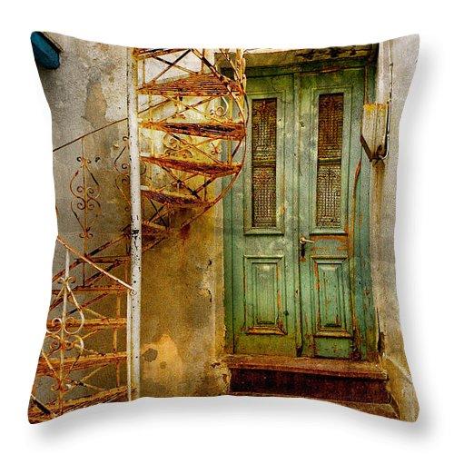 Green Throw Pillow featuring the photograph Green Door by Stacey Granger