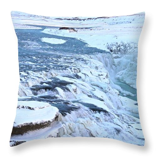 Landscape Throw Pillow featuring the photograph Gullfoss Waterfall Iceland by Eric Reger