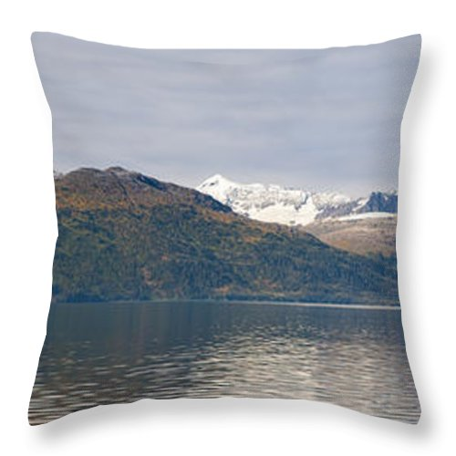 Sunny Throw Pillow featuring the photograph Hanging Glaciers And Chugach Mountiains by Jeff Schultz