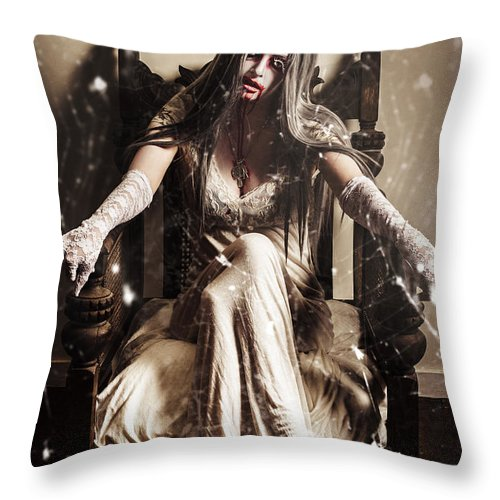 Evil Throw Pillow featuring the photograph Haunting Horror Scene With A Strange Vampire Girl by Jorgo Photography - Wall Art Gallery