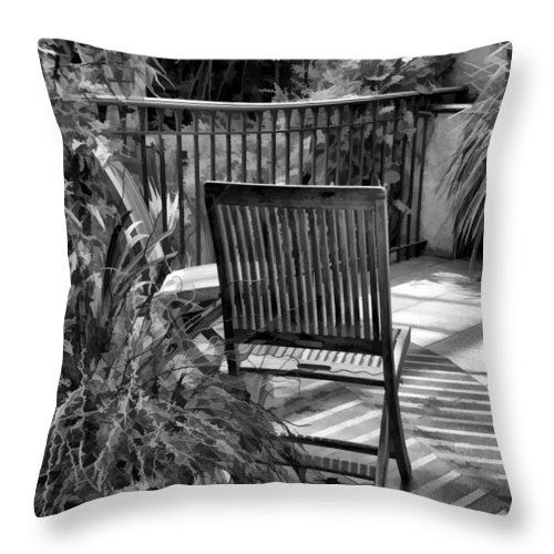 Chair Throw Pillow featuring the photograph Have A Seat by Joyce Baldassarre