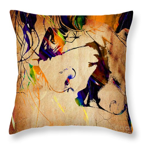 Heath Ledger Paintings Throw Pillow featuring the mixed media Heath Ledger The Joker Collection by Marvin Blaine