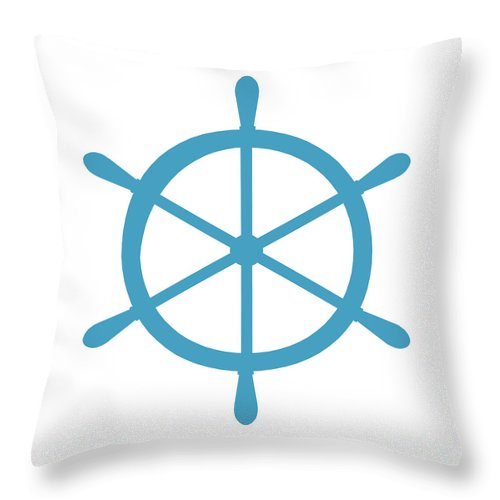 Graphic Art Throw Pillow featuring the digital art Helm In White And Turquoise Blue by Jackie Farnsworth