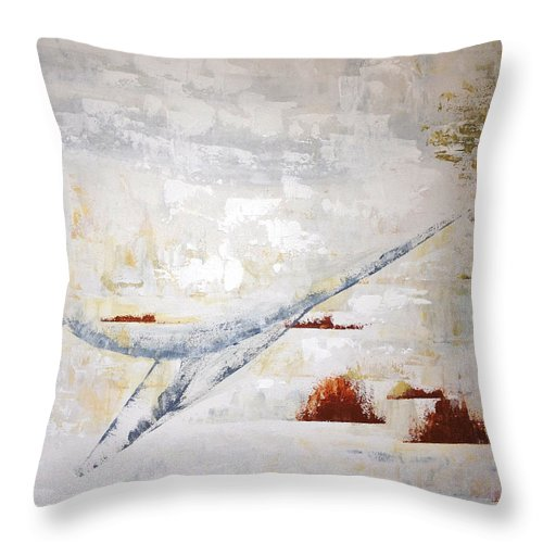 Blue Heron Throw Pillow featuring the painting Heron Flight by Judith Cahill