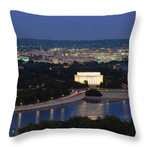 Photography Throw Pillow featuring the photograph High Angle View Of A City, Washington by Panoramic Images