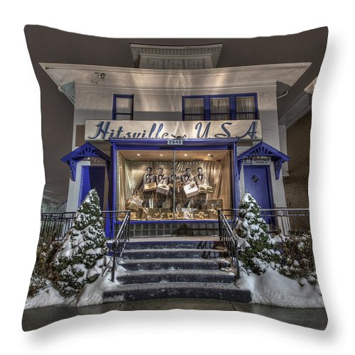 Hitsville Usa Throw Pillow featuring the photograph Hitsville Usa by Nicholas Grunas