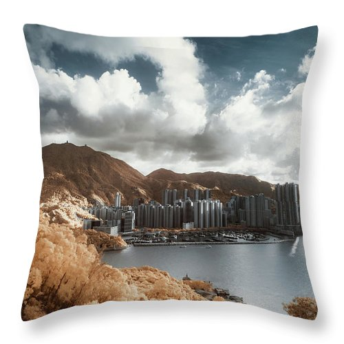 Tranquility Throw Pillow featuring the photograph Hong Kong by D3sign