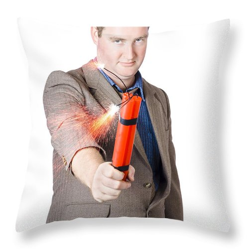 Crisis Throw Pillow featuring the photograph Hostile Male Office Worker Holding Flaming Bomb by Jorgo Photography - Wall Art Gallery