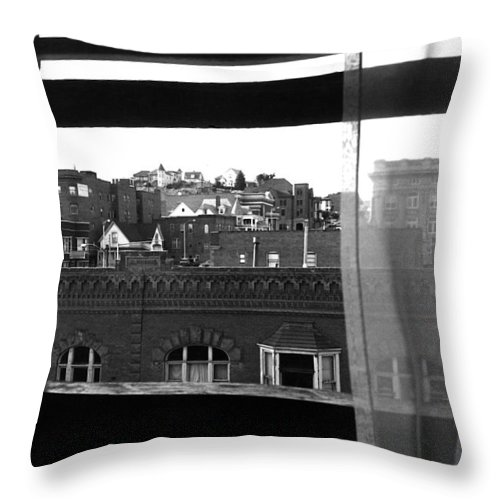 Hotel Window Butte Montana 1979 Throw Pillow featuring the photograph Hotel Window Butte Montana 1979 by David Lee Guss