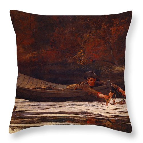 Winslow Throw Pillow featuring the painting Hound And Hunter 1892 by Philip Ralley