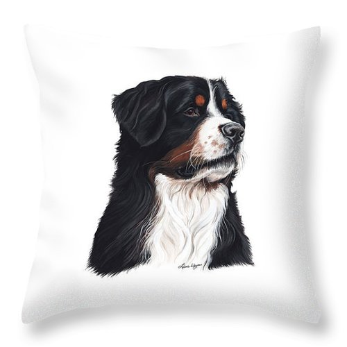 Hurley The Bernese Mountain Dog Throw Pillow featuring the painting Hurley The Hunk by Liane Weyers