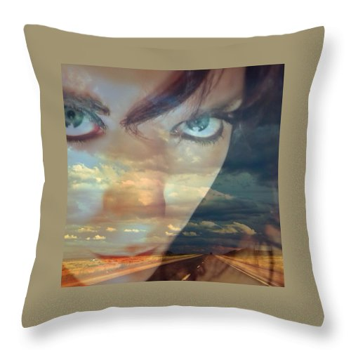 Self Throw Pillow featuring the photograph I Am The Highway by Sarah Jane Thompson