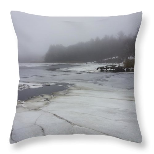 Ice Throw Pillow featuring the photograph Ice And Fog And The Ipswich River by David Stone