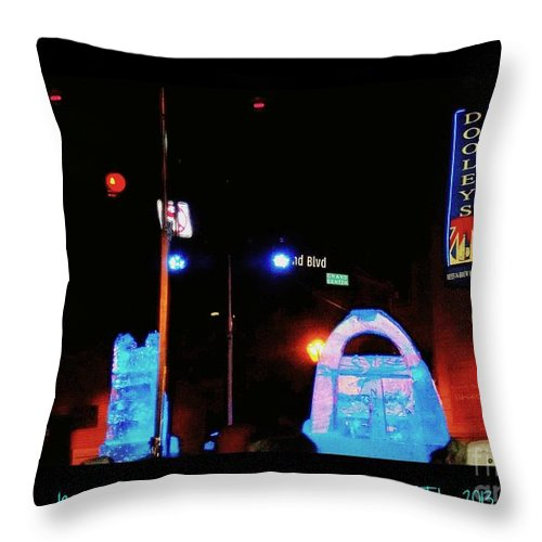 Throw Pillow featuring the photograph Ice Sculptures At First Night Celebration Stl 2013 by Kelly Awad
