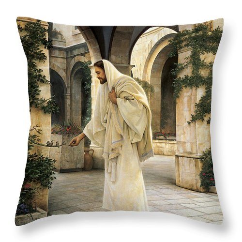 Jesus Throw Pillow featuring the painting In His Constant Care by Greg Olsen