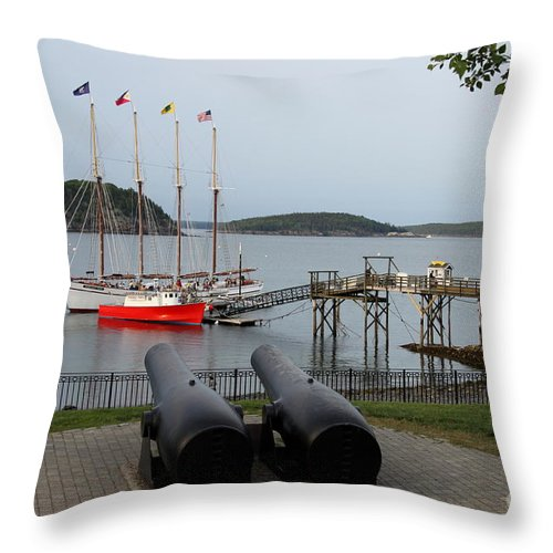 Schooner Throw Pillow featuring the photograph In The Line Of Fire by Christiane Schulze Art And Photography