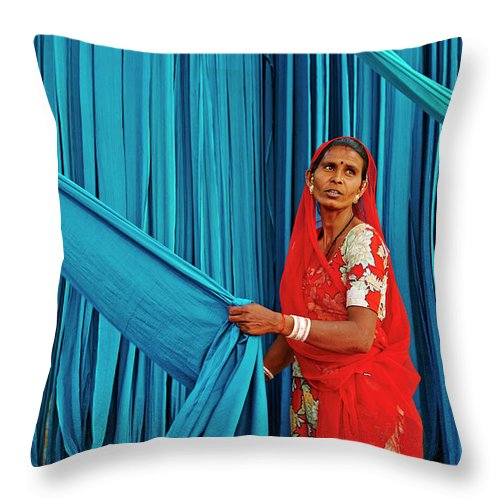 People Throw Pillow featuring the photograph India, Rajasthan, Sari Factory by Tuul & Bruno Morandi