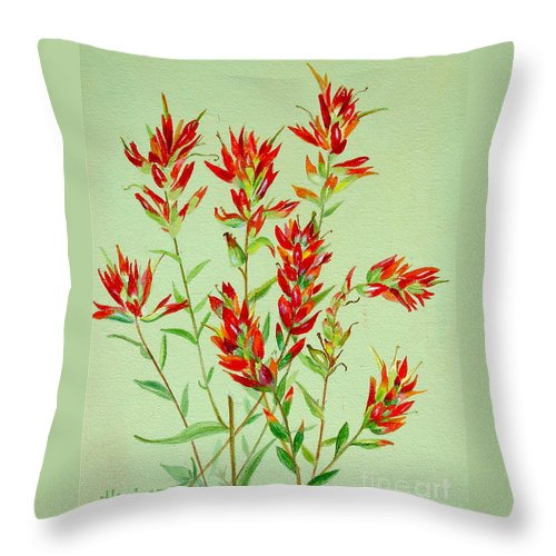 Indian Paintbrush Throw Pillow featuring the painting Indian Paintbrush by Virginia Ann Hemingson
